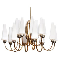 1950s, Large Brass Chandelier with Large White Murano Vases, Italy