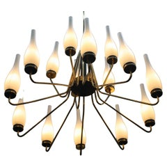 1950's Large Brass Chandelier with Vases, Italy