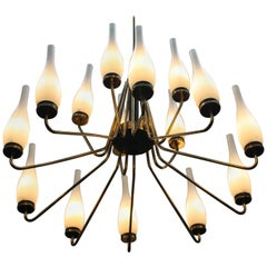 1950's Large Brass Chandelier with Vases Made by Stilnovo, Italy