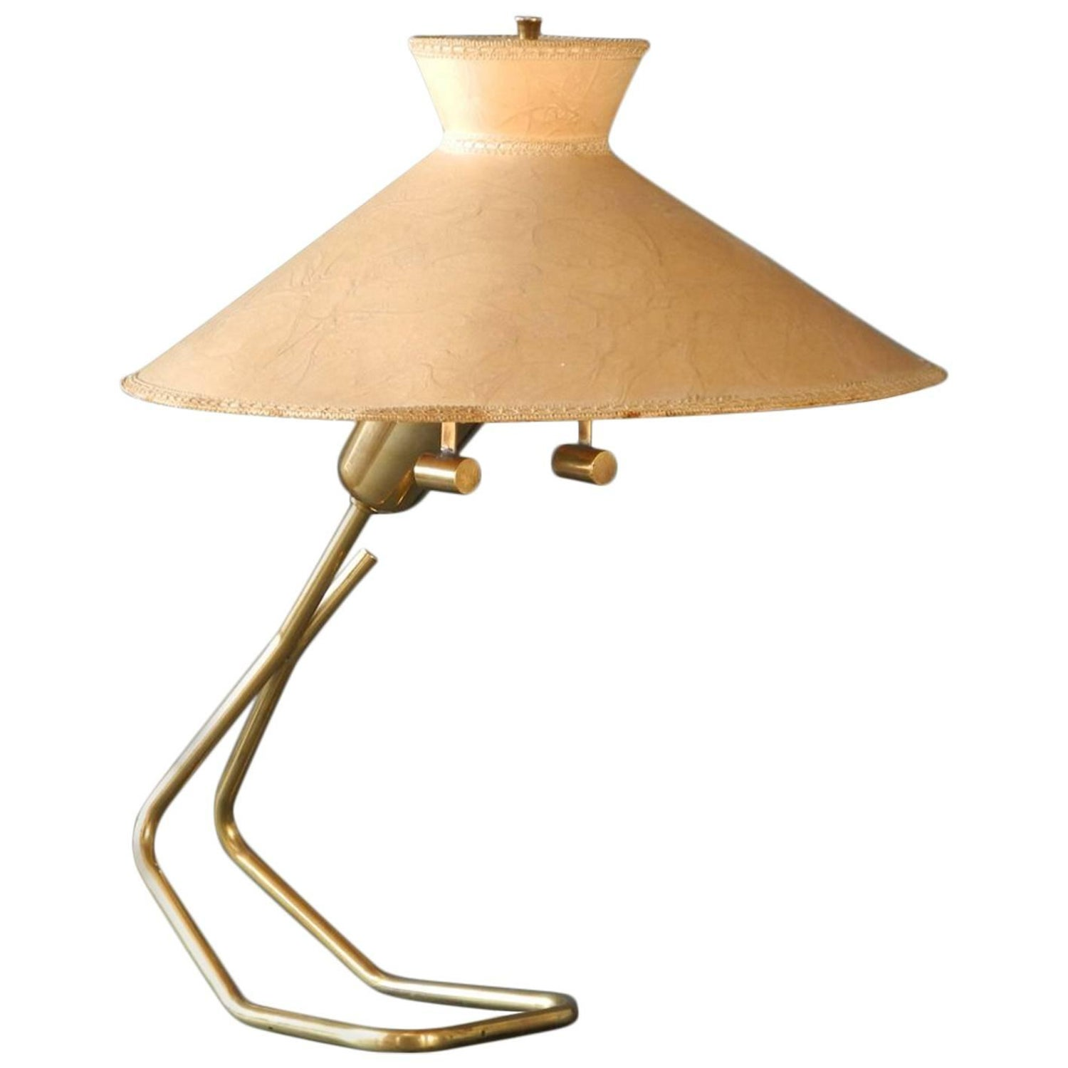 1950s Large Brass Table Lamp With Vellum Shade Vereinigte