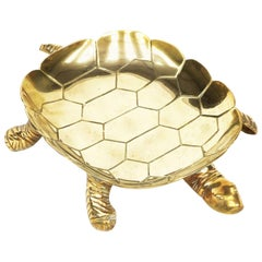 1950s Large Brass Turtle Dish Decorative Bowl Tray