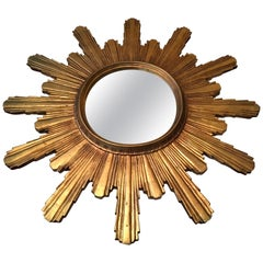 1950s Large Gilded Wooden Sunburst Mirror, Starbust Mirror