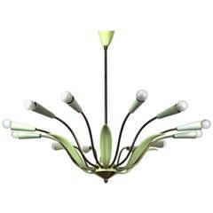1950s Large Green Brass 12-Light Sputnik Chandelier Stilnovo Style