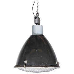 1950s Large Industrial Enameled Hanging Pendant Lamps
