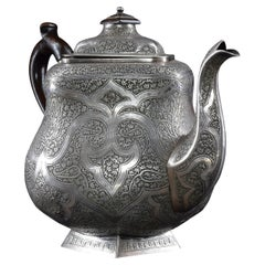 1950s Large Iranian Traditional Engraved Silver Teapot