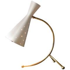 1950s Large Midcentury Brass & Painted Metal Diabolo Table Lamp by J. T. Kalmar