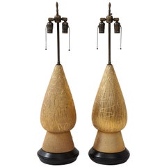 1950s Large Modern Gold Table Lamps Attributed to Marbro