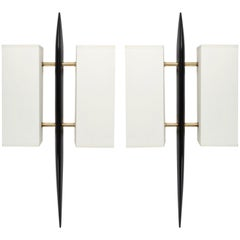 1950s Large Pair of Arlus Sconces, Blackened Wood and Brass