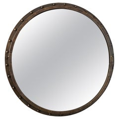 1950s Large Scale Brass Port Hole Mirror