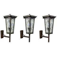 1950s Large Scandinavian Outdoor Wall Lights in Patinated Copper and Glass