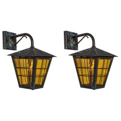 1950s Large Scandinavian Outdoor Wall Lights in Patinated Copper & Yellow Glass