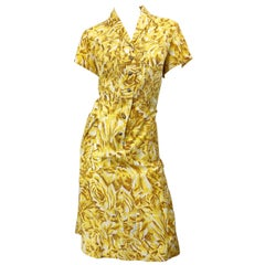 1950s Large Size Yellow + White Rose Flower Print Brentwood Vintage 50s Dress