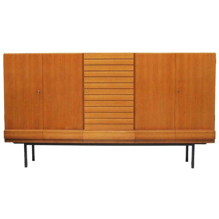 1950s Large Teak and Walnut Highboard Cabinet by Dieter Waeckerlin
