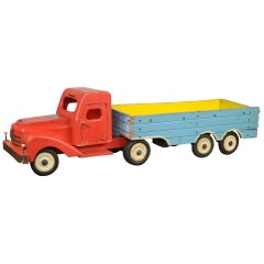 1950s Large Wooden Toy Truck with Trailer by Bigge, Germany
