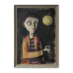 1950s Le Goullon Oil on Board of Clown