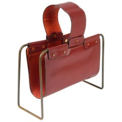 1950s Leather and Bronze Magazine Holder Stand