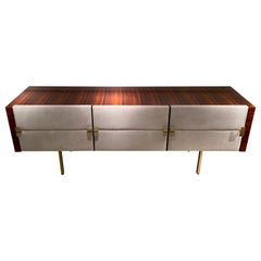 1950s Leather Chest of Drawer by Roger Landault