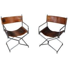 1950s Leather Chrome Folding Safari Director Chairs