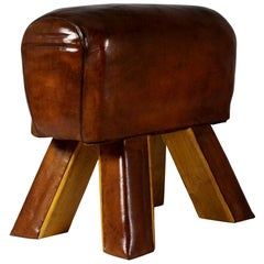 1950s Leather Gym Stool / Bench