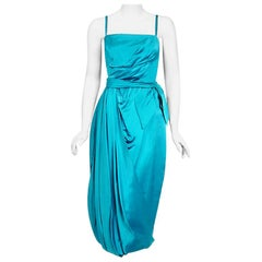 1950's Lee Claire Aqua-Blue Silk Ruched Asymmetric Drape Belted Cocktail Dress