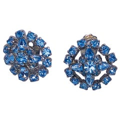 1950s Light Blue Rhinestone Round Crystal Clip - On Vintage 50s Earrings