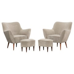 1950s light textil Lounge Chairs by Guglielmo Veronesi, New Upholstery