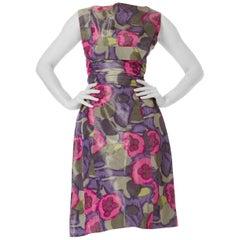1950S Lilac & Silver Silk Taffeta Abstract Floral Ikat Cocktail Dress