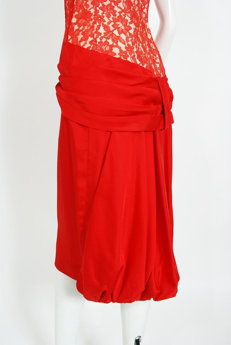 Vintage 1950's Lilli Diamond Red Silk and Lace Illusion Draped Fishtail Dress For Sale 3