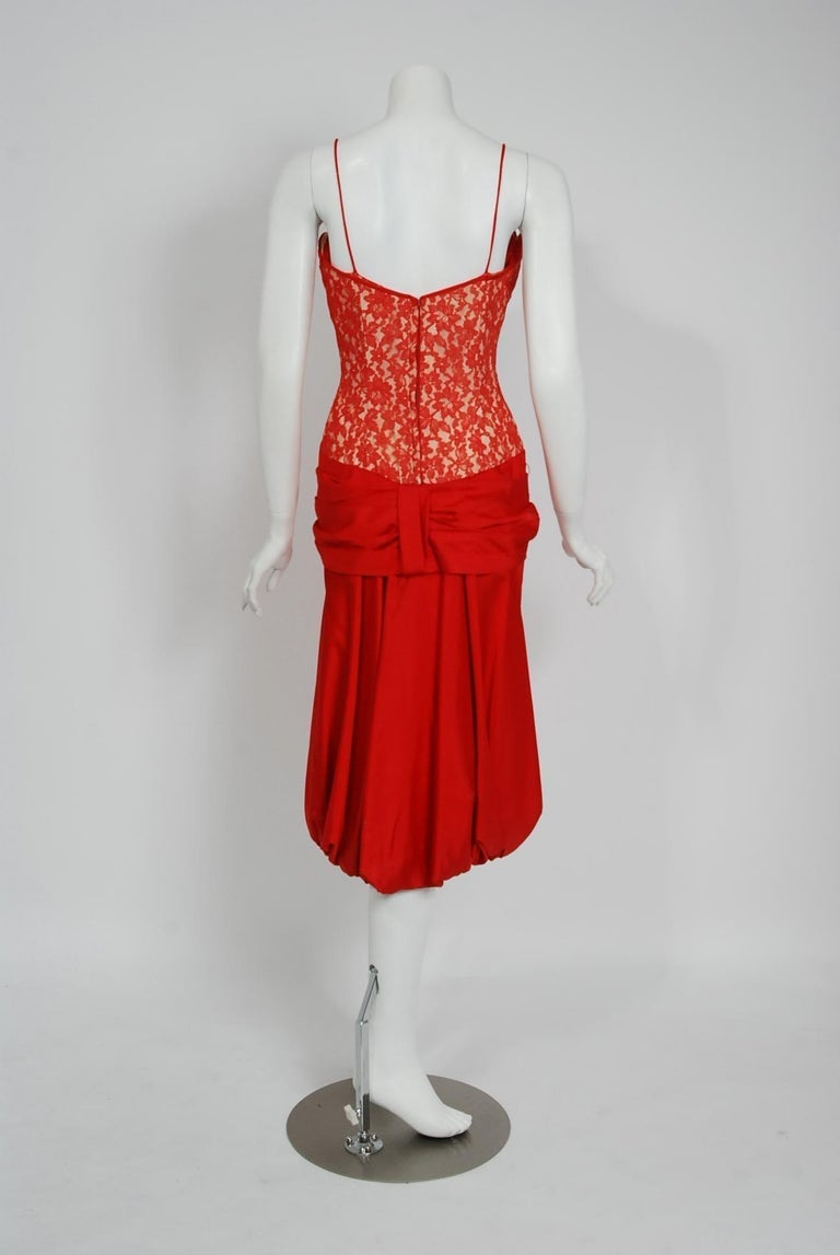 Vintage 1950's Lilli Diamond Red Silk and Lace Illusion Draped Fishtail Dress For Sale 5