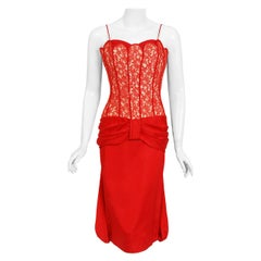 1950's Lilli Diamond Red Silk & Lace Illusion Draped Fishtail Cocktail Dress