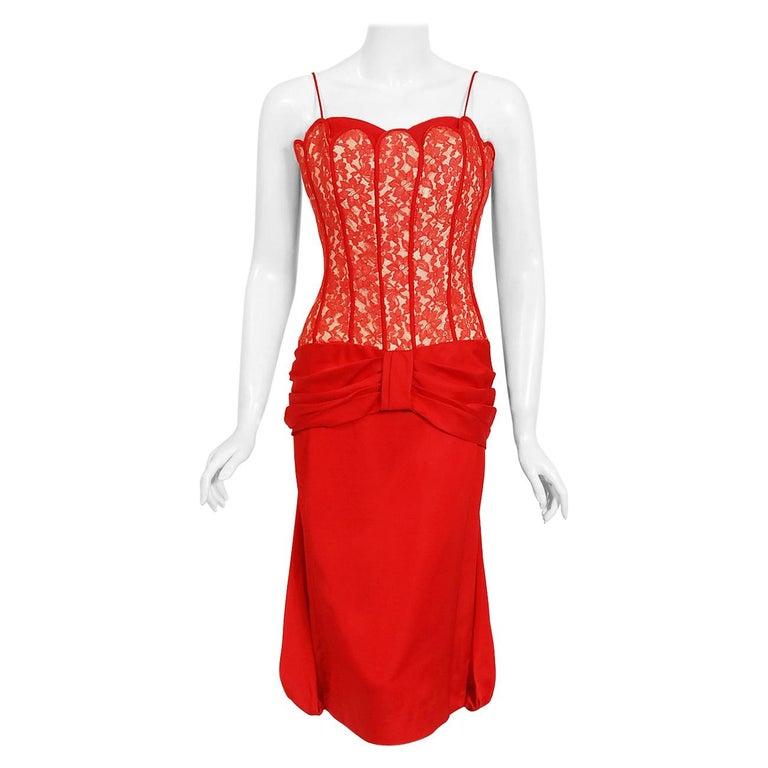 1950's Lilli Diamond Red Silk & Lace Illusion Draped Fishtail Cocktail Dress For Sale