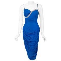 1950's Lilli Diamond Sapphire Blue Chiffon Rhinestone Draped Cocktail Dress
