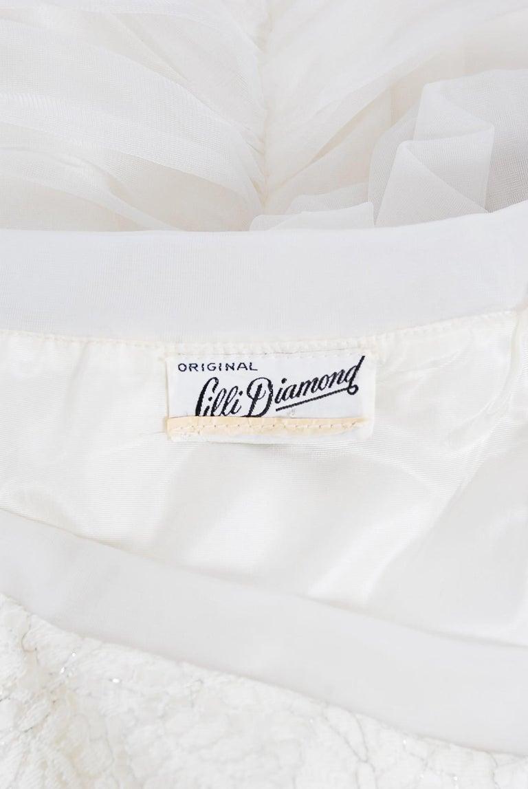 Vintage 1950's Lilli Diamond White Chiffon & Metallic Lace Ruched Cocktail Dress For Sale 5