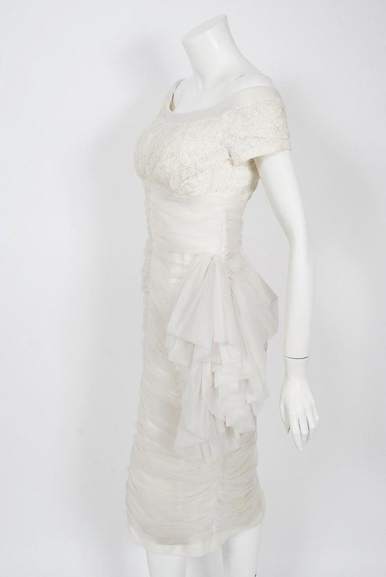 Vintage 1950's Lilli Diamond White Chiffon & Metallic Lace Ruched Cocktail Dress For Sale 1