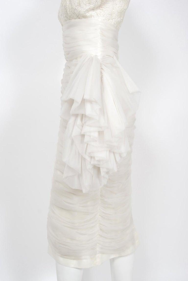 Vintage 1950's Lilli Diamond White Chiffon & Metallic Lace Ruched Cocktail Dress For Sale 2