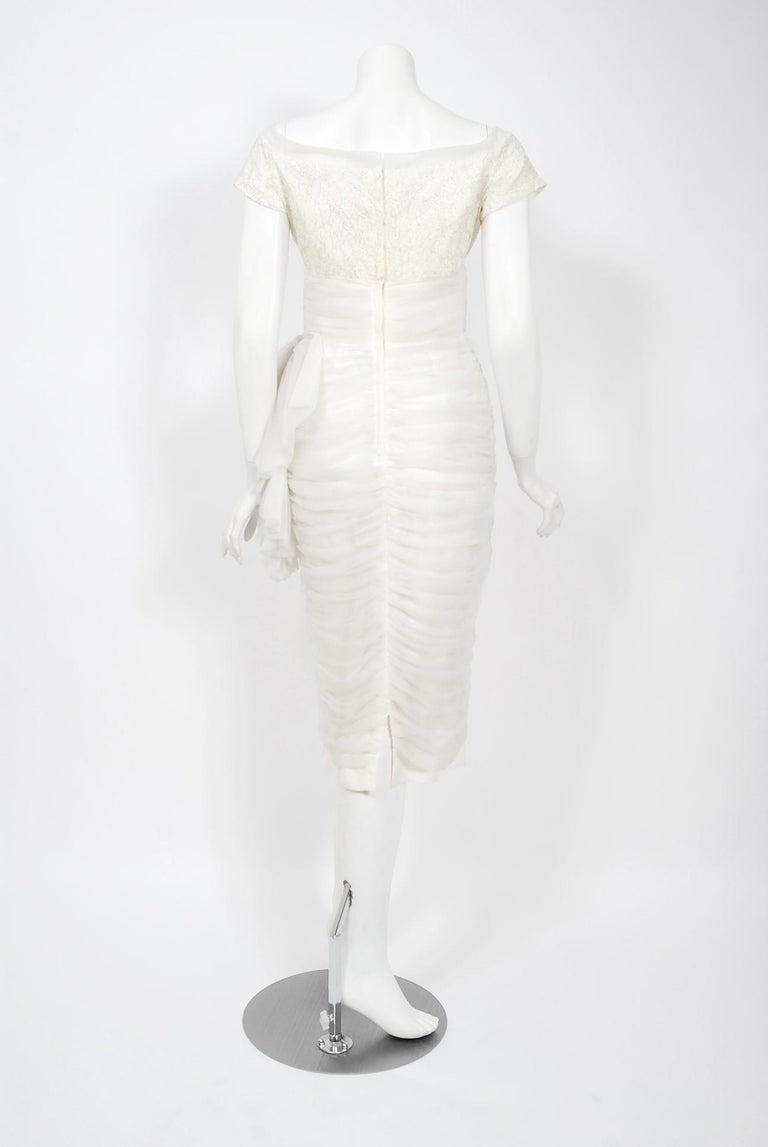 Vintage 1950's Lilli Diamond White Chiffon & Metallic Lace Ruched Cocktail Dress For Sale 3