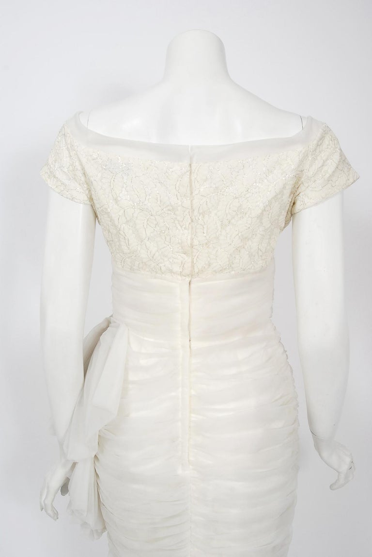 Vintage 1950's Lilli Diamond White Chiffon & Metallic Lace Ruched Cocktail Dress For Sale 4