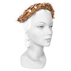 1950's Lilly Daché Khaki Beaded Lace Hat