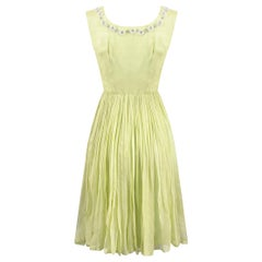 1950s Lime Green Silk Chiffon Beaded Dress