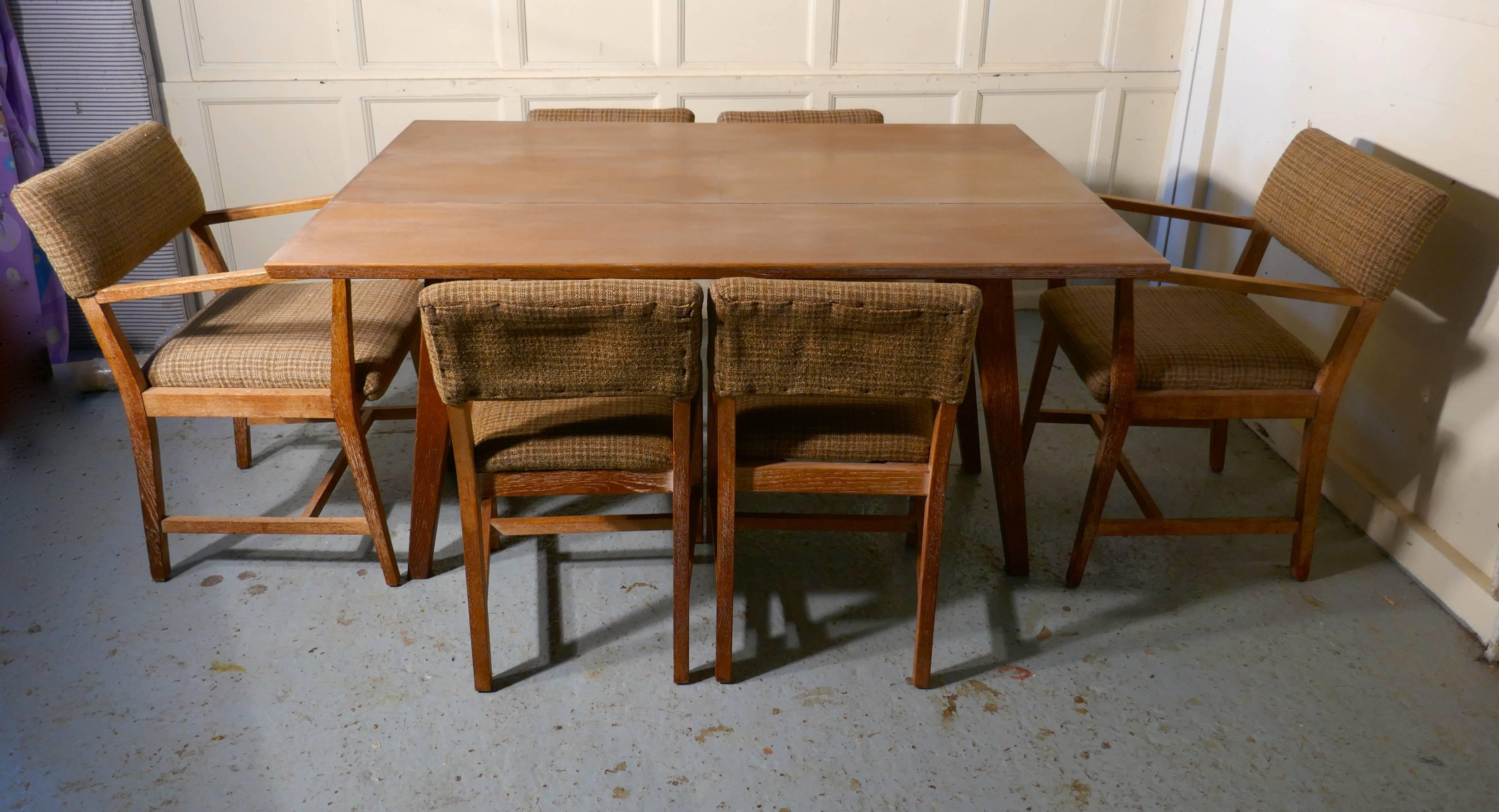 1950s Limed Oak Extending Dining Table And Set Of Six Chairs