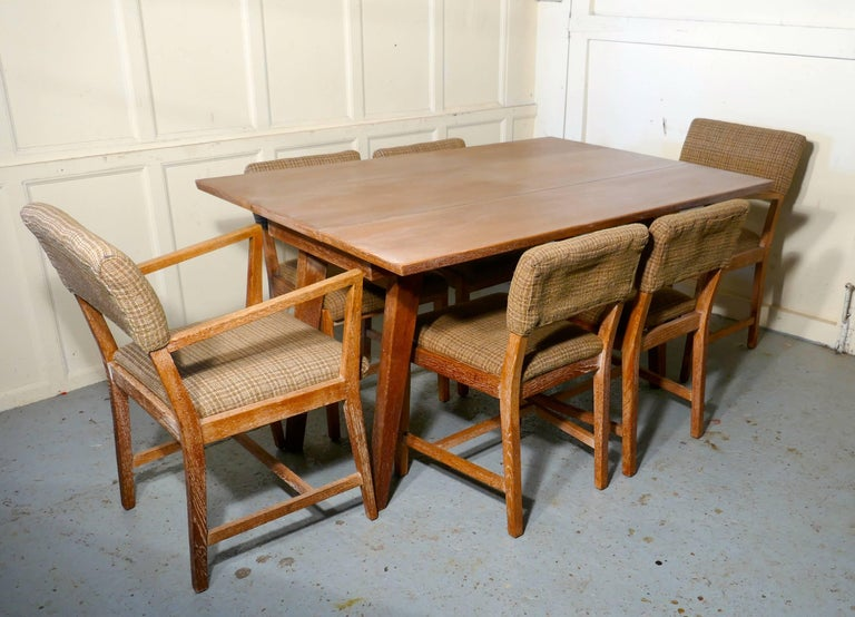 Mid Century Modern 1950s Limed Oak Extending Dining Table And Set Of Six Chairs For