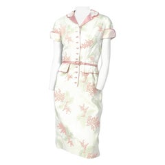 1950s Linen Floral Embroidered Dress