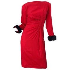 1950s Lipstick Red Wool + Mink Fur Cuffs Vintage 50s Bombshell Long Sleeve Dress