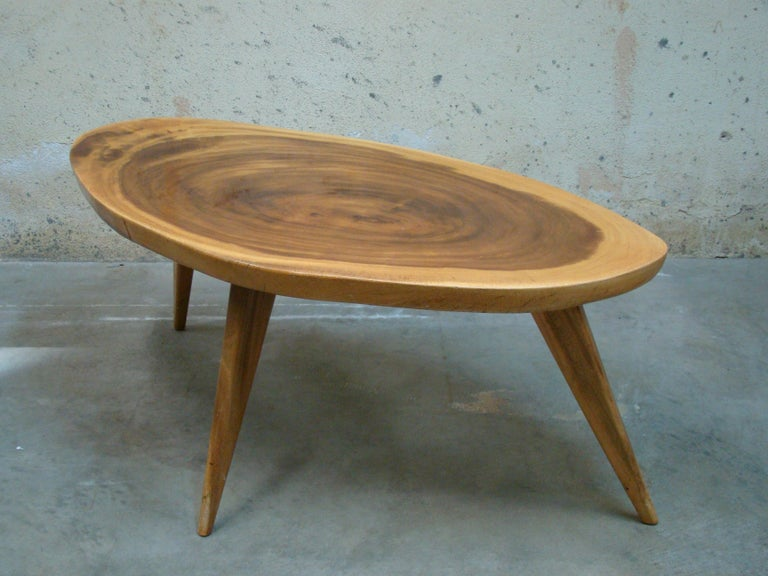 1950s Live Edge Monkeypod Wood Coffee Table Or Low Side Table