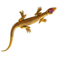 1950s Lizard Gold Brooch
