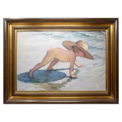 1950s López Pascual Oil on Canvas of Boy in Beach