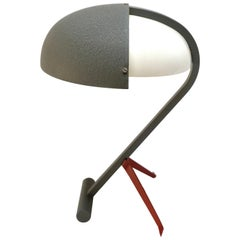 1950s Louis Kalff for Philips Grey Metal Table or Desk Lamp