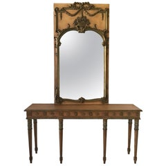 1950s Louis XVI Mirror and Console Made in Italy