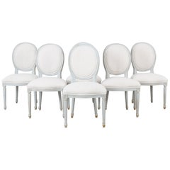 1950s Louis XVI Style White Wooden Dining Chairs, Set of Six