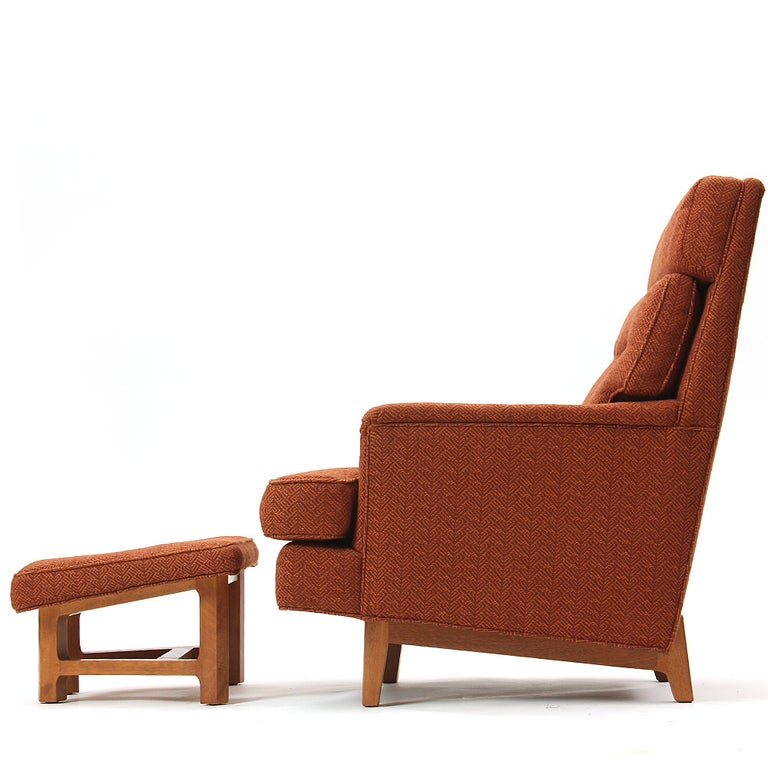 Mid-Century Modern 1950s Lounge Chair and Ottoman by Edward Wormley for Dunbar For Sale